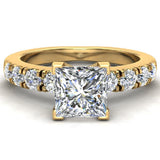 Engagement Rings for Women - Princess Cut Diamond 14K Gold  0.70 ct GIA Certificate - Yellow Gold