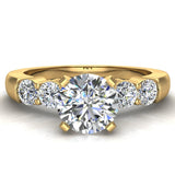 Five Stone Engagement Solitaire Ring 14K Gold (G,SI) - Yellow Gold