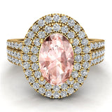Engagement Ring for Women Oval Pink Morganite Double Halo Diamond Ring 14K Gold 2.65 carat (I,I1) - Yellow Gold