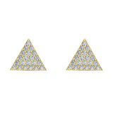 Triangle Shape Pave Diamond Stud Earrings 1/2 ctw 18K Gold (G,VS) - Yellow Gold