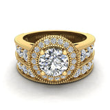 2.24 Carat Solitaire Diamond Halo And Simple Studded Shank Wedding Ring Set 14K Gold (I,I1) - Yellow Gold