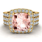 Pink Morganite Cushion Cut Halo Diamond wedding rings for women 14K Gold 3.85 ctw (G,SI) - Yellow Gold