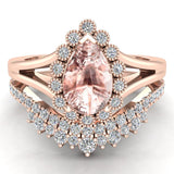 Morganite Engagement Ring - Wedding Ring Set for Women 14K Gold 8 mm Pear Shape (G, I1) - Rose Gold