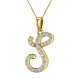 Initial Necklace S Letter charms Diamond pendant necklace 18K Gold (G,VS) - Yellow Gold