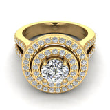 Statement Round Diamond Double Halo Split Shank Engagement Ring 1.77 ctw 18K Gold (G,SI) - Yellow Gold