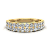 Diamond Wedding Band matching to Two Row Solitaire Diamond Wedding Ring 14K Gold 0.70 carat (I,I1) - Yellow Gold