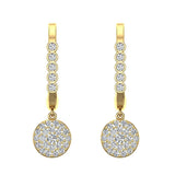 Circle Diamond Dangle Earrings Dainty Drop Style 14K Gold 1.31 ctw (I,I1) - Yellow Gold
