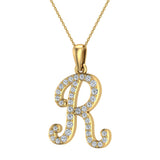 Initial Necklace R Letter charms Diamond pendant necklace 18K Gold (G,VS) - Yellow Gold