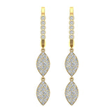 Marquise Diamond Dangle Earrings Dainty Drop Style 14K Gold 1.10 ctw (G,SI) - Yellow Gold