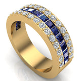 Mens Wedding Rings Blue Sapphire Gemstones rings 14K Gold  Diamond Ring 2.97 carat tw - Yellow Gold