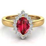 July Birthstone Ruby Marquise 14K Gold Diamond Ring 1.00 ct tw - Yellow Gold