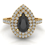 Pear Cut Black Diamond Double Halo Engagement Ring 18K Gold (G,VS) - Yellow Gold