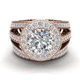 Large Moissanite Wedding Ring Set 14K Gold Halo Rings for women 8.00 mm 3.95 carat (I,I1) - Rose Gold