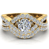 Intertwined Engagement Ring Set Shared Prong Diamond Setting 14K Gold (G,VS) - Yellow Gold