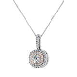 Round Brilliant Diamond Cushion Double Halo 2 tone necklace 14K Gold (I,I1) - Rose Gold