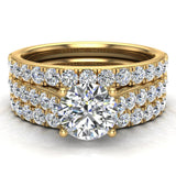 Accented Diamond Solitaire Wedding Ring Set w/ Enhancer Bands Bridal 1.90 Carat Total 14K Gold (I,I1) - Yellow Gold