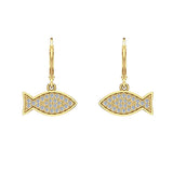 14k Fish 0.68 ct tw Pave Set Diamond Stud Earring (G,SI) - Yellow Gold