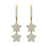 Star Diamond Dangle Earrings Dainty Drop Style 18K Gold 1.78 ctw (G,VS) - Yellow Gold