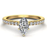 Petite Engagement rings for women Marquise Cut diamond ring 18K Gold 0.65 carat (G,SI) - Yellow Gold