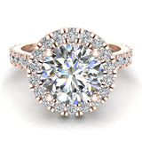 Moissanite Engagement rings 18K Gold Halo Rings for women 3.35 carat (G,VS) - Rose Gold