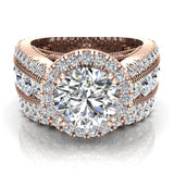 Moissanite Wedding Ring Set for Women 14K Gold Real Diamond accented Ring Channel Set 5.60 carat tw (I,I1) - Rose Gold