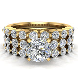 2.07 Carat Shared-Prong setting Band Wedding Ring Set  w/ Enhancer Bands 18K Gold (G,VS) - Yellow Gold