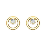 Diamond Earrings Circle Shape Studs Bezel Settings 10K Gold (J,SI2-I1) - Yellow Gold