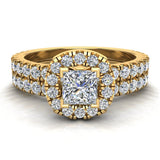 Petite Wedding rings for women Cushion Halo Princess Cut diamond bridal set 18K Gold 1.55 carat (G, VS) - Yellow Gold