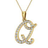 Initial Necklace Q Letter charms Diamond pendant necklace 18K Gold (G,VS) - Yellow Gold