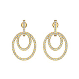 Intertwined Circles Loop Diamond Chandelier Earrings 14K Gold 1.53 ctw(I,I1) - Yellow Gold