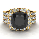 Black Diamond Cushion Cut Halo Diamond wedding rings for women 14K Gold 3.85 ctw (I,I1) - Yellow Gold