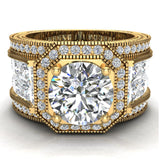 Large  Moissanite Engagement Ring 14K Gold Halo Rings for women 8.00 mm 6.85 carat (I,I1) - Yellow Gold
