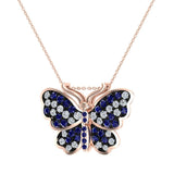 Exquisite Sapphire Butterfly Necklace 14K Gold 0.86 Ctw - Rose Gold