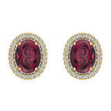 4.34 ct tw Red Garnet & Diamond Cabochon Stud Earring In 14k Gold (G, I1) - Yellow Gold