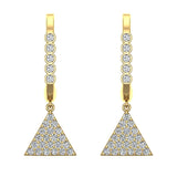 Triangle Diamond Dangle Earrings Dainty Drop Style 14K Gold 0.50 ctw (I,I1) - Yellow Gold