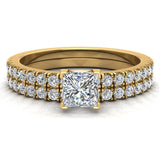 Petite Wedding Rings for women Princess Cut Bridal set 18K Gold 0.90 carat (G, SI) - Yellow Gold