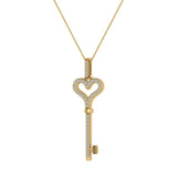 14K Gold Key to your Heart Diamond Necklace ¼ ctw (I,I1) - Yellow Gold