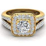 Round Cut Diamond Cushion Halo Split Shank Ring Set 14K Gold (G,I2) - Yellow Gold