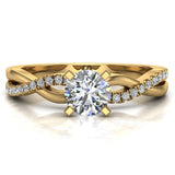 Twisting Infinity Diamond Engagement Ring 14K Gold 0.63 ctw (G,I1) - Yellow Gold