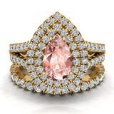 Pear Cut Pink Morganite Double Halo Wedding Ring Set 14K Gold (I,I1) - Yellow Gold