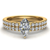 Petite Wedding Rings for women Marquise Cut Bridal set 18K Gold 0.90 carat (G, VS) - Yellow Gold