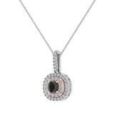 Round Cut Black Diamond Cushion Double Halo 2 tone necklace 14K Gold (I,I1) - Rose Gold