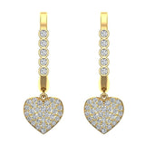 Heart Diamond Dangle Earrings Dainty Drop Style 14K Gold 0.75 ctw (I,I1) - Yellow Gold