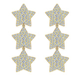 Star Diamond Cluster Chandelier Earrings Waterfall Style 14K Gold (G,SI) - Yellow Gold