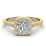 0.90 ct tw Cushion Halo Petit Engagement Ring 14K Gold (I,I1) - Yellow Gold