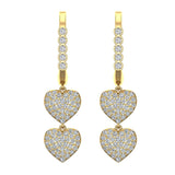 Heart Diamond Dangle Earrings Dainty Drop Style 14K Gold 1.18 ctw (I,I1) - Yellow Gold