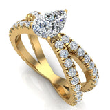 X Cross Split Shank Pear Shape Diamond Engagement Ring 1.75 carat Total 18K Gold - Yellow Gold
