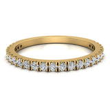 Exquisite Stacking French Pave Set Diamond Wedding Band 0.38 Ctw 14K Solid Gold (G,I1) - Yellow Gold