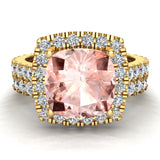Pink Morganite Cushion Cut Halo Diamond wedding rings for women 14K Gold 3.28 ctw (I,I1) - Yellow Gold