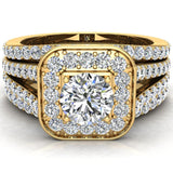 Round Cut Diamond Cushion Halo Split Shank Ring Set  w Enhancer Bands 14K Gold (G,I2) - Yellow Gold